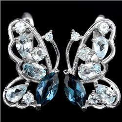 Natural Butterfly Sky & London Topaz Pendant Earring