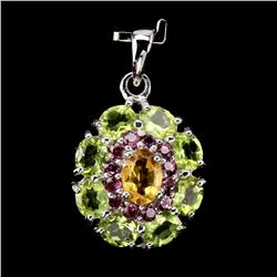 Natural Yellow Citrine Peridot Rhodolite Pendant
