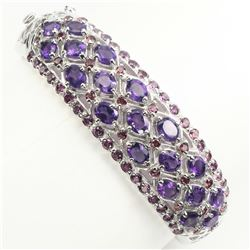 Natural  Intense Purple Amethyst Garnet Bangle