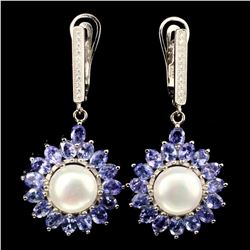Natural Blue Tanzanite &  Pearl 48 Carats Earrings