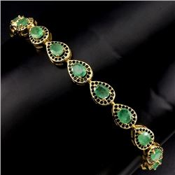 Natural  Green Columbian  Emerald Black Spinel Bracelet