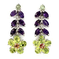 Natural Green Peridot Amethyst Sapphire Earrings