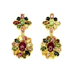 Natural Oval Cab 7x5mm Fancy Colors Tourmaline Earrings