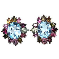 Natural AAA SKY BLUE TOPAZ & TOURMALINE Earrings