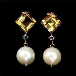 Natural 10 MM Citrine Pearl & Topaz Earrings