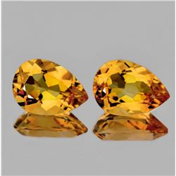 Natural Golden Yellow Citrine Pair 15x10 MM{Flawless}