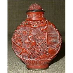 ANTIQUE CHINESE HAND CARVED CINNABAR SNUFF BOTTLE