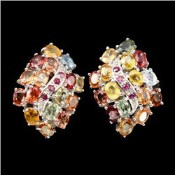 Natural Fancy Colors Sapphire & Ruby Earrings
