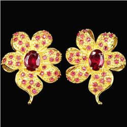 Natural  BLOOD RED RUBY FLOWER EARRING