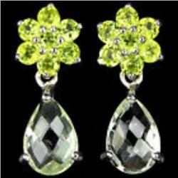 NATURAL Light GREEN AMETHYST & PERIDOT earring