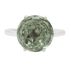 NATURAL HAND CARVED GREEN AMETHYST RING