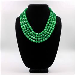 Beautiful 1195.5 Cttw Genuine Jade 4 Strand Necklace
