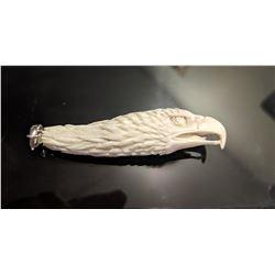 Hand Carved Antler 3D Eagle Pendant