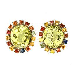 Natural Yellow Lemon Quartz Sapphire 115 Ct Earrings
