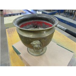 ESTATE - BRASS FLOWER POT WITH LIONS HEADS ON SIDES