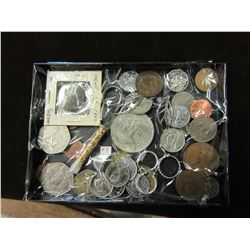TRAY OF STERLING SILVER JEWELRY & WORLD COLLECTIBLE COINS