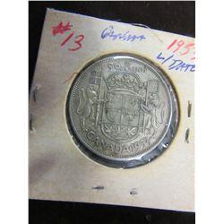 1953 LARGE DATE CANADA SILVER HALF DOLLAR