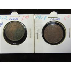 1912 & 1918 KING GEORGE V CANADA LARGE PENNIES