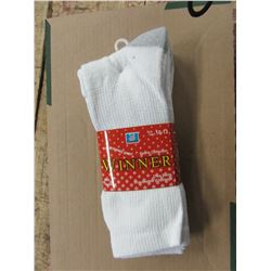 NEW - MEN'S WHITE/GREY SOCKS (3 PAIR) - PER PACKAGE