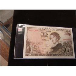1965 BANK OF MADRID SPAIN 100 PESETA CURRENCY BANK NOTE