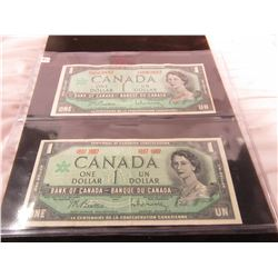 1967 WITH SERIAL NUMBER & 1967 NO SERIAL NUMBER CANADA CENTENNIAL $1 BILLS