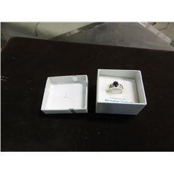 NEW - STERLING SILVER 8X6 MM GENUINE GARNET RING