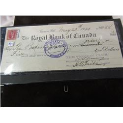 1940 ROYAL BANK OF CANADA GOVERNMENT STAMPED COLLECTOR CHEQUE