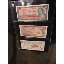 STOCK SHEET 1954, 1974 & 1986 BIRD SERIES $2 BILLS