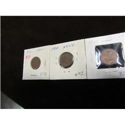 1940, 41 & 42 NEWFOUNDLAND KING GEORGE VI PENNIES