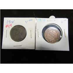 1918 & 1919 CANADA KING GEORGE V LARGE PENNIES