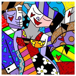 "Romero Britto ""New Tonight"" Hand Signed Giclee on Canvas; Authenticated"