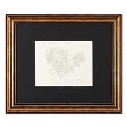 "Guillaume Azoulay, ""Sketch AZI"" Framed Original Drawing, Hand Signed with Letter of Authenticity."