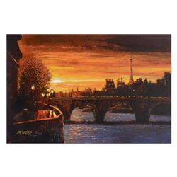 """Howard Behrens (1933-2014), """"Twilight on the Seine II"""" Hand Embellished Limited Edition on Textured"""