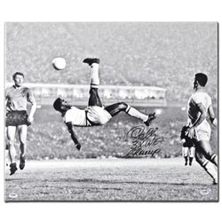 """""""Scissor Kick"""" Autographed Print on Gallery Wrapped Canvas, Hand Signed by Legendary Brazilian Footb"""