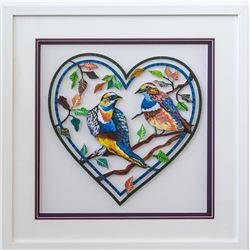 "Patricia Govezensky- Original Painting on Laser Cut Steel ""Love Birds"""