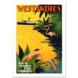 """White Star Lines/West Indies"" Hand Pulled Lithograph by the RE Society. Includes Certificate of Aut"