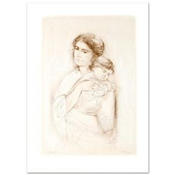 """Leona and Baby"" Limited Edition Lithograph by Edna Hibel, Numbered and Hand Signed with Certificate"