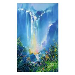"Thomas Leung, ""Green Forest Falls"" Limited Edition on Canvas, Numbered and Hand Signed with Letter o"