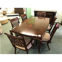 INLAYED FORMAL DINING ROOM SUITE INC.: TABLE WITH LEAF AND 6 CHAIRS.  APPROXIMATE RETAIL $11,000.00
