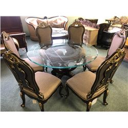 MICHAEL AMINI GLASS TOP DINING ROOM TABLE WITH CARVED BASE AND 6 CHAIRS.  APPROXIMATE RETAIL