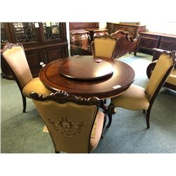 MICHAEL AMINI INLAYED DINING ROOM TABLE WITH LAZY SUSAN AND 4 CHAIRS.  APPROXIMATE RETAIL