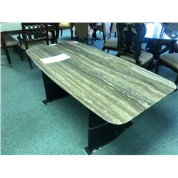 MARBLE TOP LEATHER BASE DINING TABLE.  RETAIL $3,000.00