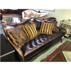 MICHAEL AMINI LAVELLE LEATHER SOFA WITH THROW CUSHIONS. RETAIL $6,800.00