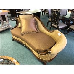 SCHNADIG FORMAL CHAISE LOUNGE WITH THROW CUSHIONS. RETAIL $4,020.00