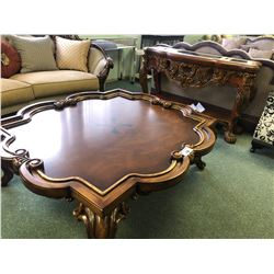 LARGE FORMAL COCKTAIL TABLE WITH MATCHING CONSOLE TABLE.
