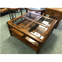 FLEXSTEEL TRADITIONAL OAK WITH GLASS TOP COFFEE TABLE.  RETAIL $1,899.00