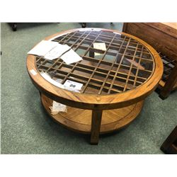 FLEXSTEEL TRADITIONAL OAK WITH GLASS TOP ROUND COFFEE TABLE.  RETAIL $1,699.00