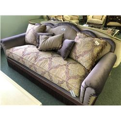 ORNATE FORMAL SOFA AND LOVE SEAT SET WITH THROW CUSHIONS.  APPROXIMATE RETAIL $9,500.00