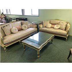 ORNATE FORMAL 3PC SOFA SET WITH SOFA, LOVE SEAT AND CHAIR WITH THROW CUSHIONS.  APPROXIMATE RETAIL
