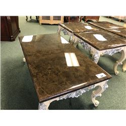 3 PC MARBLE TOP COFFEE TABLE SET WITH COFFEE TABLE AND 2 END TABLES.  APPROXIMATE RETAIL $4,500.00